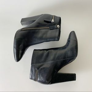 Leather ankle zipper boots. Rocker chic